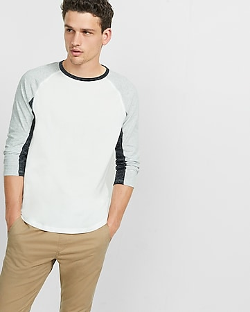 express one eleven color block baseball tee