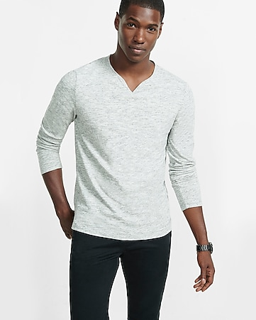 soft wash fine stripe notch neck long sleeve tee