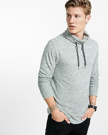 light gray express one eleven plush jersey funnel neck tee