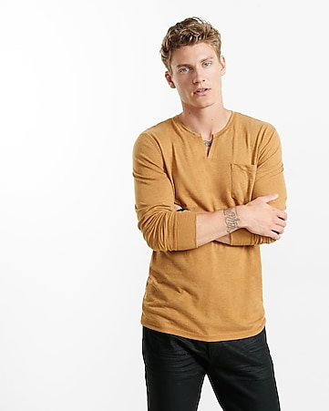 notch neck long sleeve t-shirt