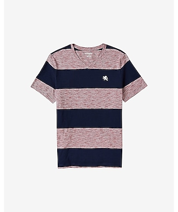 slub block stripe small lion v-neck t-shirt