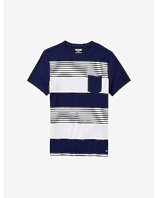 EXPRESS Men's Tees Engineered Stripe Crew Neck Pocket T-shirt