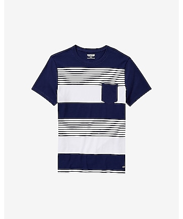 engineered stripe crew neck pocket t-shirt