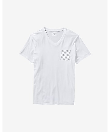 micro print pocket v-neck t-shirt