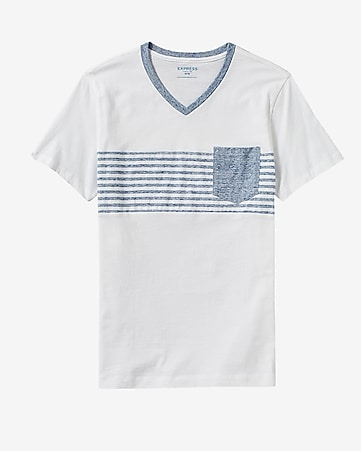 faded engineered stripe contrast v-neck t-shirt