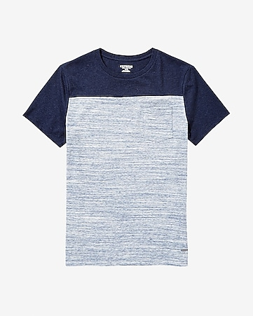 marled color block pocket t-shirt