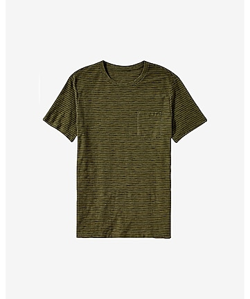textured slub striped crew neck t-shirt