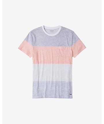 reverse print rugby stripe pocket t-shirt