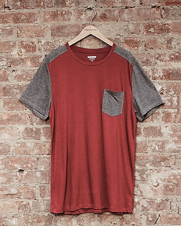 express one eleven soft wash color block t-shirt -tempest red