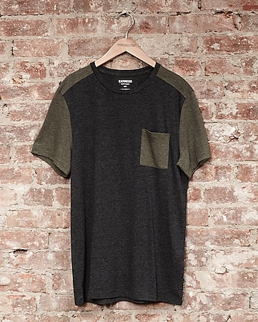 express one eleven soft wash color block t-shirt - olive green