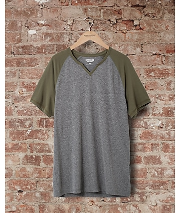 express one eleven soft wash raglan t-shirt - green