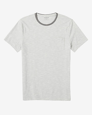 fine striped crew neck pocket t-shirt