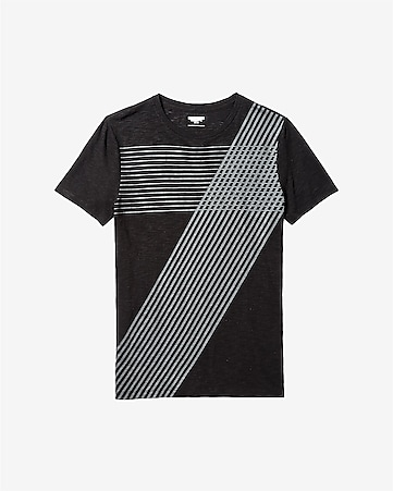 slub crew neck cross stripe t-shirt