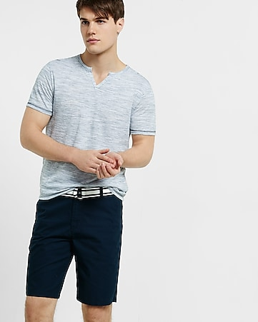 slub striped notch neck t-shirt