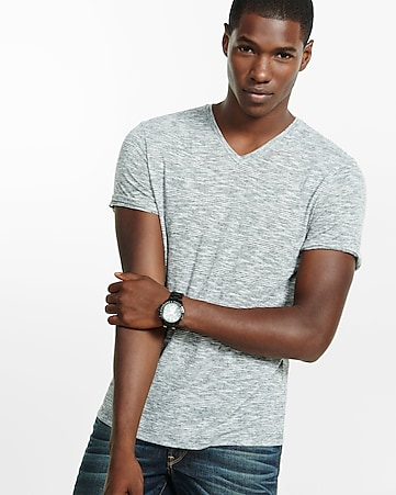 express one eleven fine stripe v-neck tee