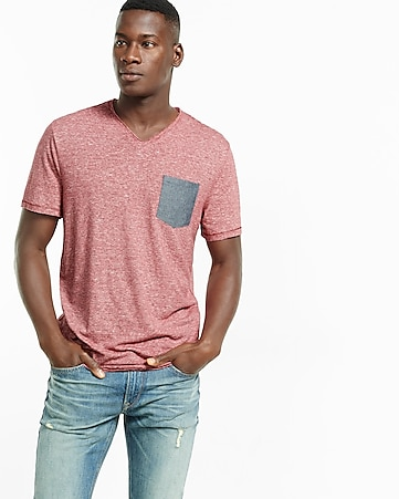 express one eleven striped v-neck pocket tee