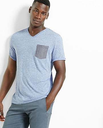 striped v-neck pocket tee