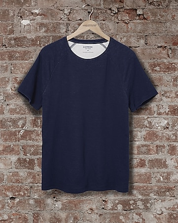 express one eleven double knit raglan t-shirt - blue