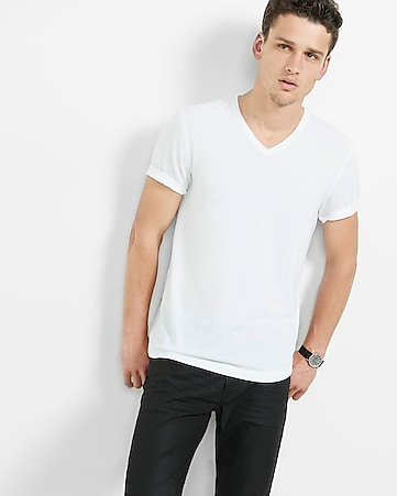 express one eleven soft wash v-neck t-shirt - pure white