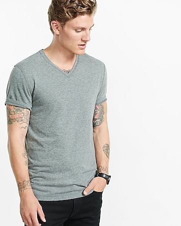express one eleven soft wash v-neck t-shirt - heather gray