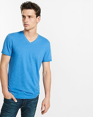 Express Mens Soft Wash V-Neck T-Shirt Blue Small