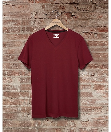 express one eleven marled v-neck t-shirt - deep garnet