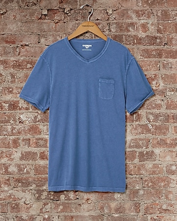 express one eleven garment dyed v-neck t-shirt