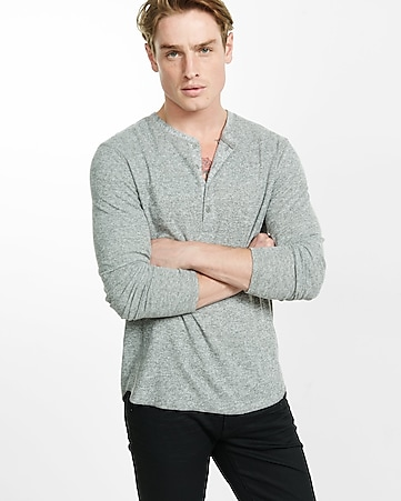 express one eleven long sleeve waffle knit henley