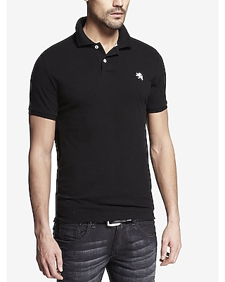 Express Mens Modern Fit Small Lion Pique Polo Black X Small