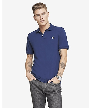 tall modern fit small lion pique polo