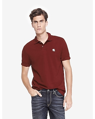Express Mens Modern Fit Small Lion Pique Polo Red Small