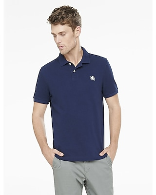 Express Mens Modern Fit Small Lion Pique Polo Blue Small