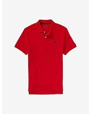 Express Mens Modern Fit Small Lion Pique Polo Red Medium
