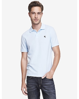 Express Mens Small Lion Pique Polo Blue Small