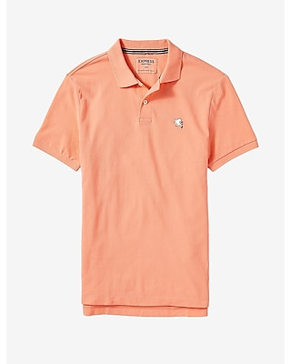 Express Mens Small Lion Pique Polo Orange X Small