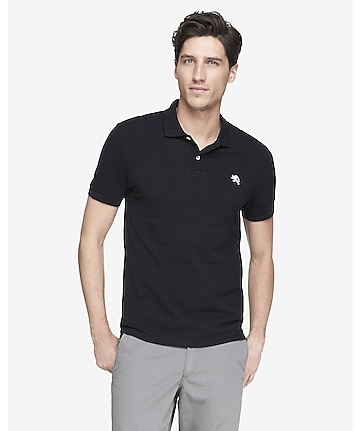 fitted small lion pique polo