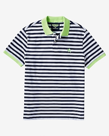 neon collar small lion striped pique polo