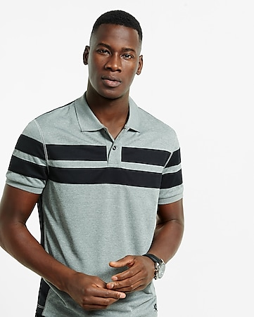 mesh striped active polo