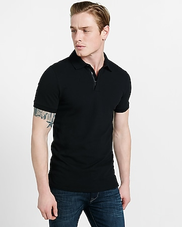 zip placket stretch pique polo