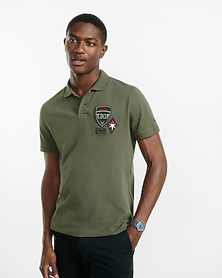 Express Mens Military Patch Embellished Pique Polo