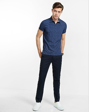 dot print chambray polo