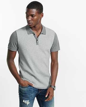 express one eleven constrasing pique polo
