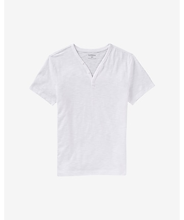 slub knit y-neck henley t-shirt