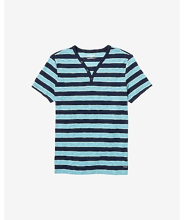 striped slub knit y-neck henley t-shirt