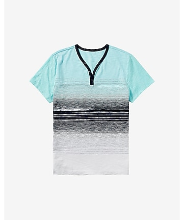 ombre stripe y-neck henley t-shirt