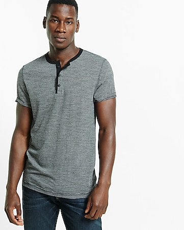 express one eleven soft wash fine stripe henley