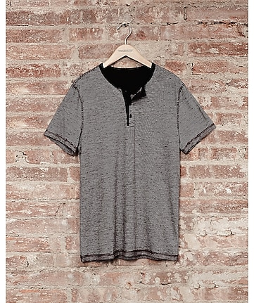 express one eleven fine stripe henley - russian ruby