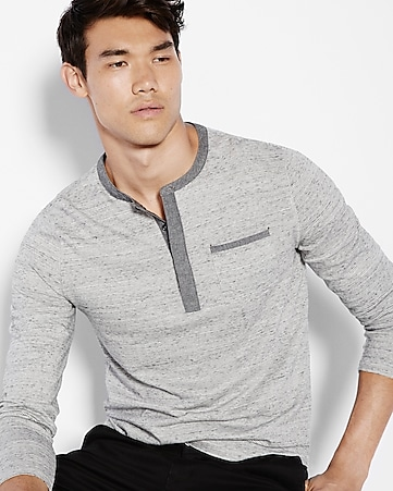 soft wash striped pocket henley