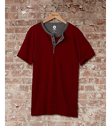 express one eleven soft wash henley t-shirt