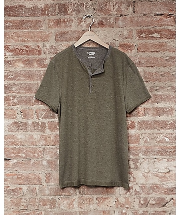 express one eleven soft wash henley t-shirt - olive green